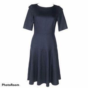 Boden Navy Blue Wool Blend Dress With Full Skirt